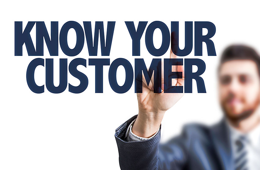 illustration of a man pointing to the words Know Your Customer, an important aspect of building a website and writing content that generates leads, converts leads to sales, and helps your business grow