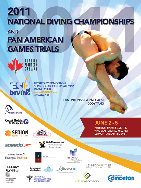 18 x 24 inch poster designed and printed by Selaris and splashed throughout Edmonton for the 2011 National Diving Championships.